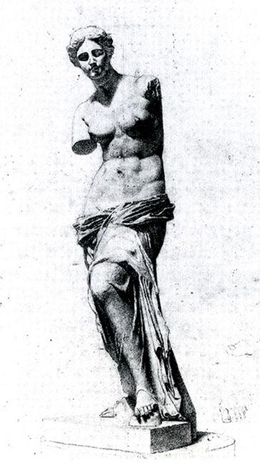 Sargent John Singer Drawings - Copy of Venus de Milo. Pencil on paper. 1874