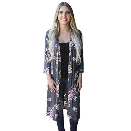 459424b0985ba Longra Grande Taille Kimono Long Femme Fille Bohême Imprimé Manches Longues  Cardigan Femme Élégant Cardigan Femme
