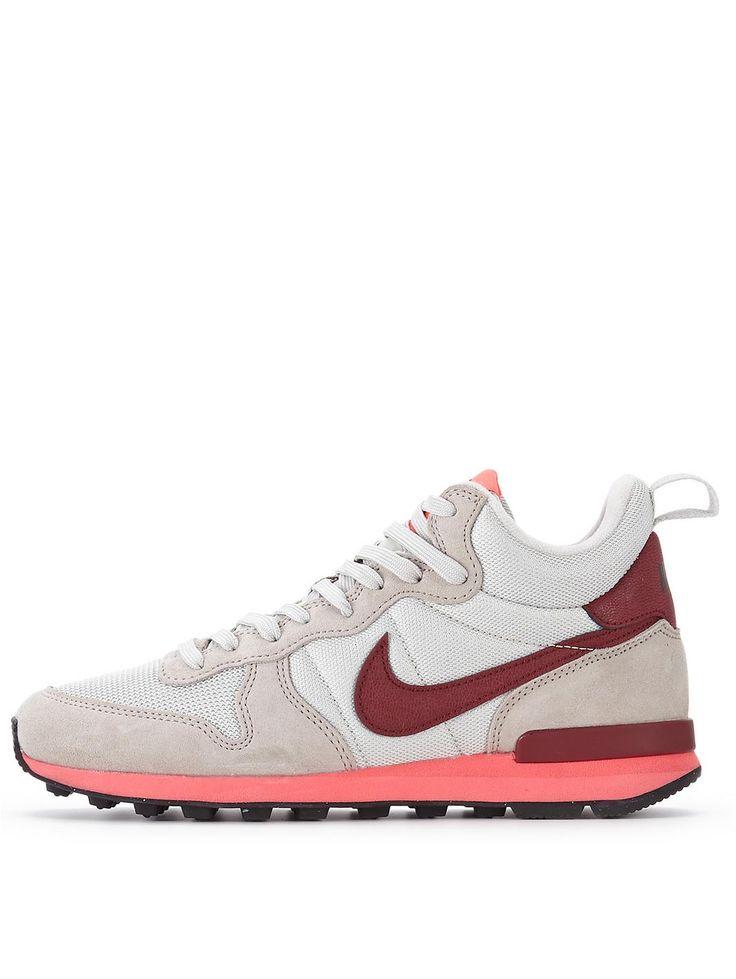 Nike Internationalist Mid Trainers - Womens Trainers - COLOUR-cream/burgundy