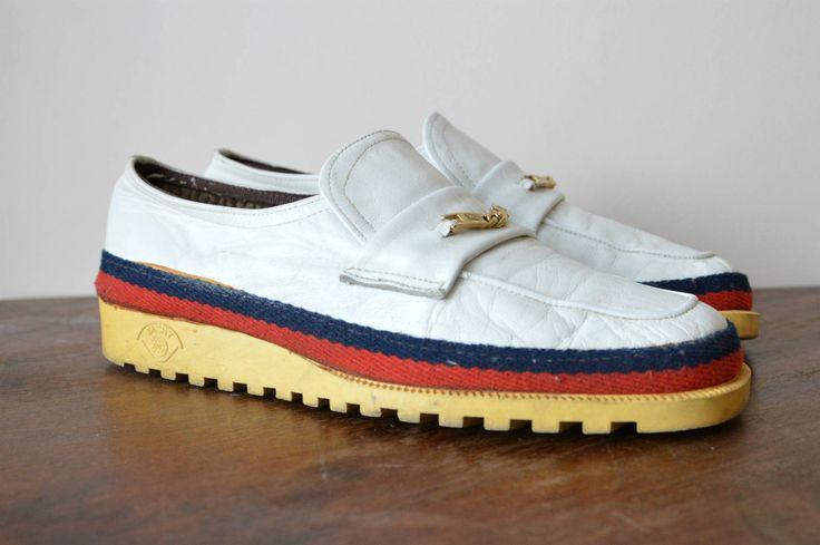 Men's White Leather Loafers Pierre Cardin Size US 9/ EU 43 Vintage Italian Shoes by sonjasusanna on Etsy