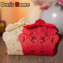 100 pcs Free Shipping Red/ White/ Gold Laser Cut Wedding Favor Boxes Wedding Candy Box Casamento Wedding Favors And Gifts(China (Mainland))