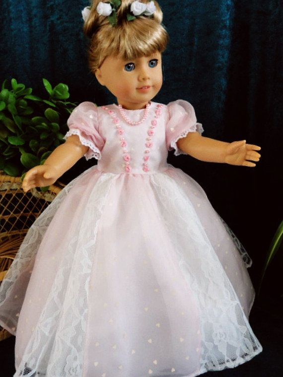 American Girl Doll and 18 doll. Party Gown Full by designsbyorvie, $40.00