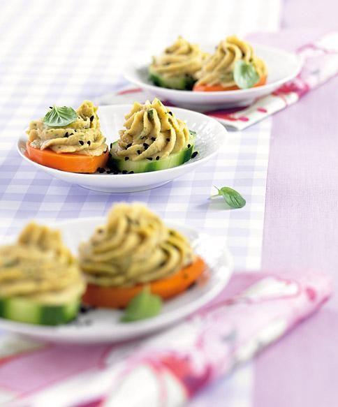 Rezept: Kichererbsencreme auf Gemüsetalern