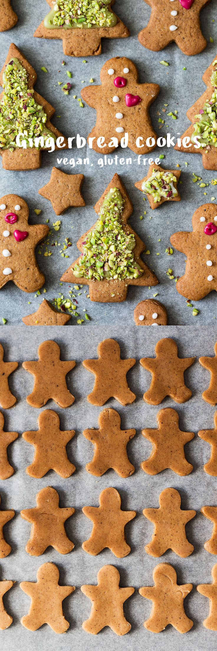 These #vegan #gingerbreadcookies are #easy to make, perfectly #spiced and fun to decorate (decorated with all natural, homemade food dyes). They can easily be made #glutenfree too. #cookies #xmas #gingerbread #gingerbreadmen #recipe #recipes #vegetarian #baking #biscuits