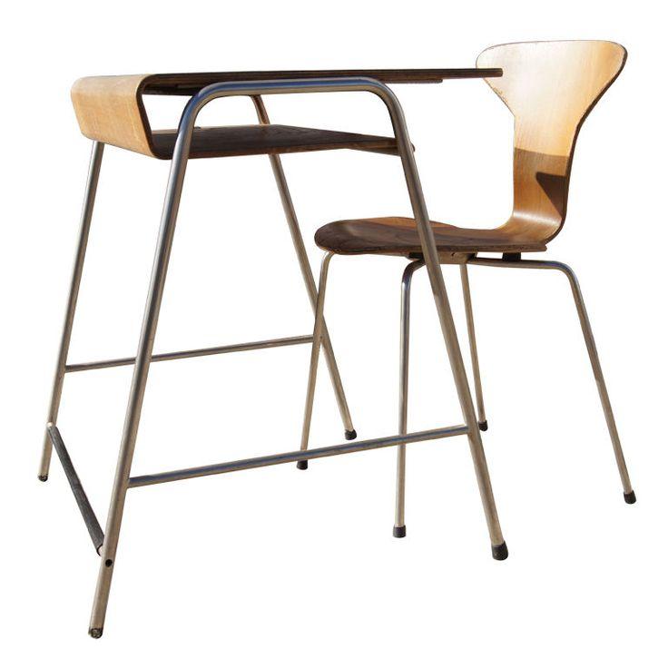 Child's desk and chair by Arne Jacobsen, Denmark, 1960s.