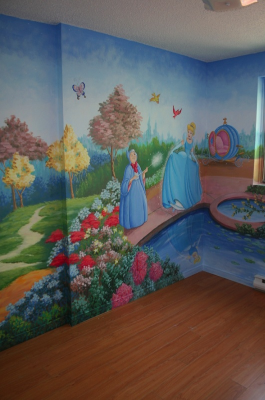 66 best painted walls kids 39 rooms images on pinterest for Disney princess wall mural tesco