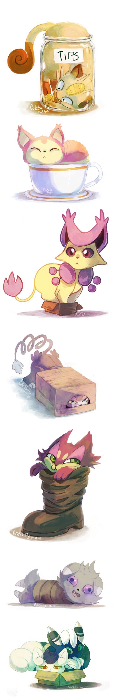 If I fit, I sit ...  pokemon, meowth, skitty, delcatty, glameaow, purrloin, espurr, meowstic