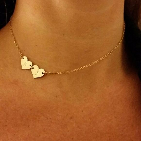 "Gold plated 18k double heart S J initial necklace Gold plated, custommade 18k, S and J double heart necklace 14"" with extender to 16 option Hearts are offset to side for extra cute look, wear as a stylish choker or centered to layer as you wish. Taudrey Jewelry Necklaces"