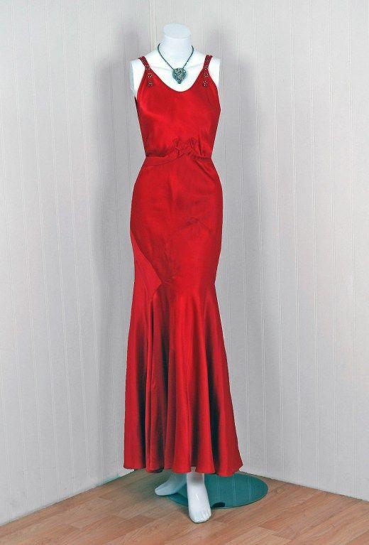1930's Seductive Bias-Cut Red Rhinestone Satin Hourglass Gown image 2