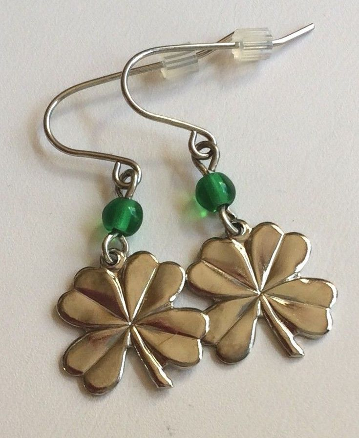Silver Shamrock Earrings Plated St. Patricks Day Celtic Irish Clover Green Bead #Unbranded #DropDangle