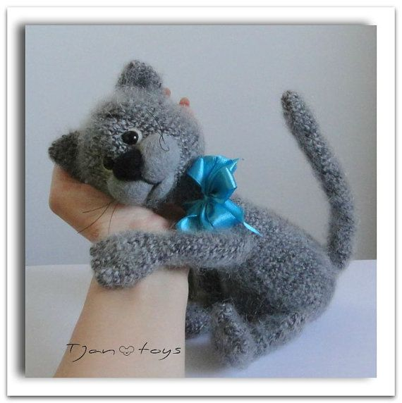 Crocheting Stuffed Animals : KITTEN OOAK Stuffed Animals Crochet Handmade Soft toy decor Amigurumi ...