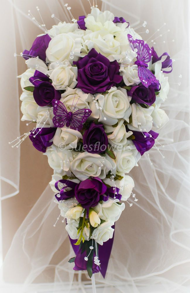 Details About Wedding Flowers Brides Teardrop Bouquet In Cadburys Purple Ivory