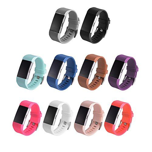 Sexbody 10PCS Fitbit Charge 2 Wristband Replacement Accessory Bands with Secure Buckle / Fitbit Charge 2 Colourful Silicone Bracelet Sport Arm Band(No tracker Replacement Bands Only)