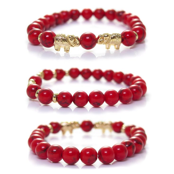 Red Howlite Elephant Bracelet By Kanti Design -- Find out more details by clicking the image : Jewelry
