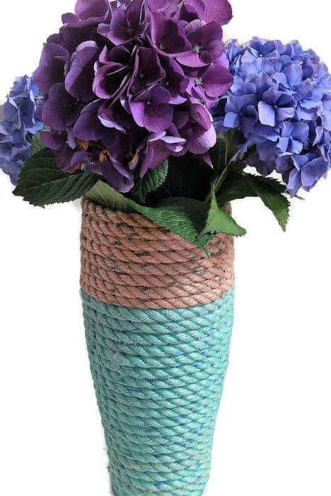 Nautical Decor Reclaimed Lobster Trap Rope Wrapped Flower Vase Unique Gift