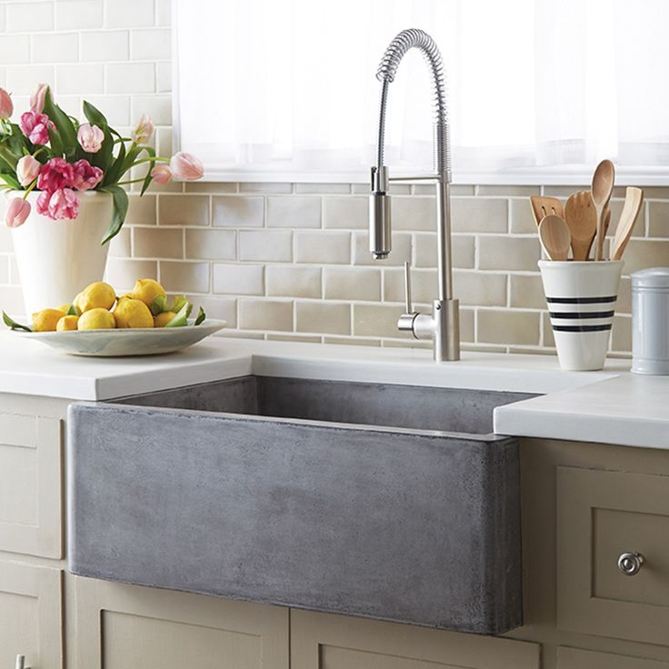 Farmhouse 3018 Kitchen Sink in NativeStone, an eco-friendly mix of cement and jute. All the durability of concrete with 40% less weight.