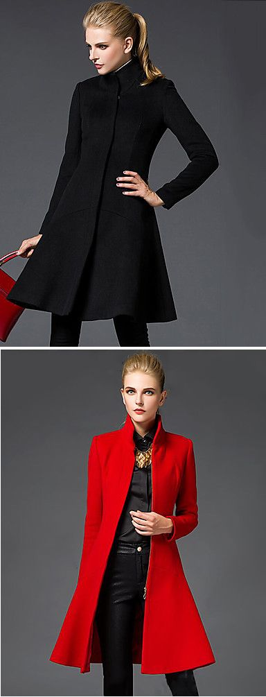 Don't be invisible this fall - choose bright colors! Elegant strict cut knee length coat for women in black and red at just $24.29.Only TODAY - 11.11 sale - up to 85% OFF on all categories.