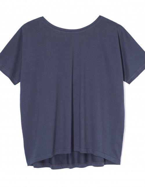 T-shirt bez pleców niebieski
