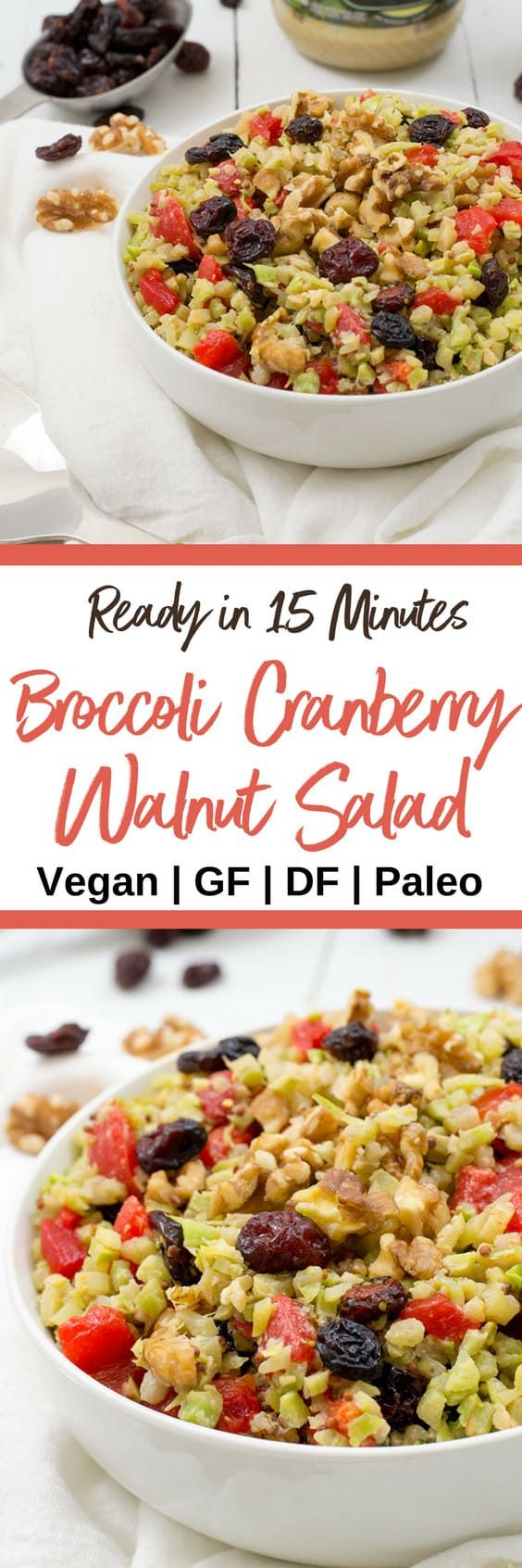 This vegan broccoli cranberry walnut salad is the perfect lunch recipe! Paleo, grain free, gluten free and so simple!