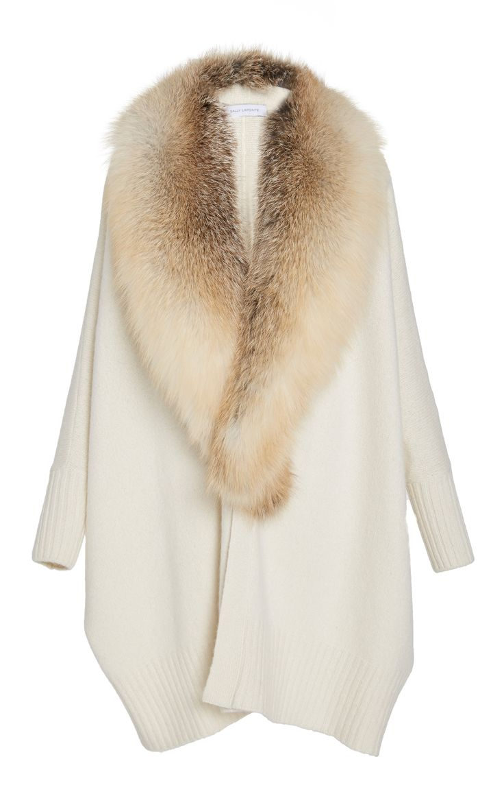 SALLY LaPOINTE / This Sally LaPointe sweater features a open front silhouette, rendered in a cashmere silk blend, and removable fox fur collar.