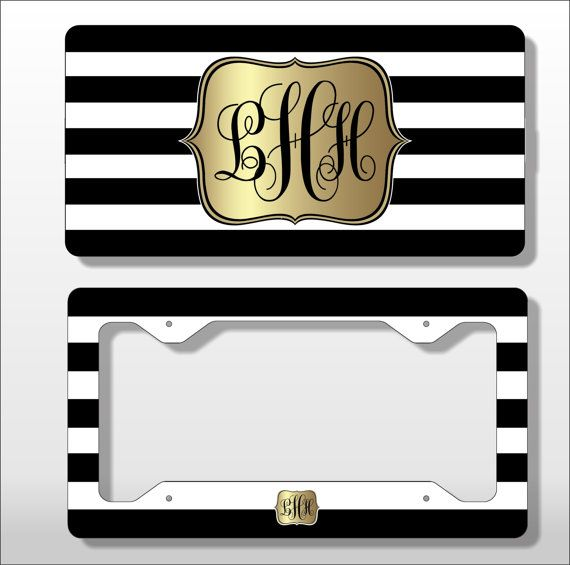 Monogram License Plate with Matching Key by PersonallyYoursCases