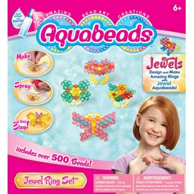 If you love to wear rings, this amazing bead art play set by Aquabeads is for you! Make a different ring to wear each day of the week using our convenient templates. Flip the templates over and design your own. Enjoy making rings as gifts! Comes with over 500 jewel beads and 6 interchangeable rings. Set also includes a convenient spray bottle, bead case, layout tray, 8 design templates, bead pen and instructions.