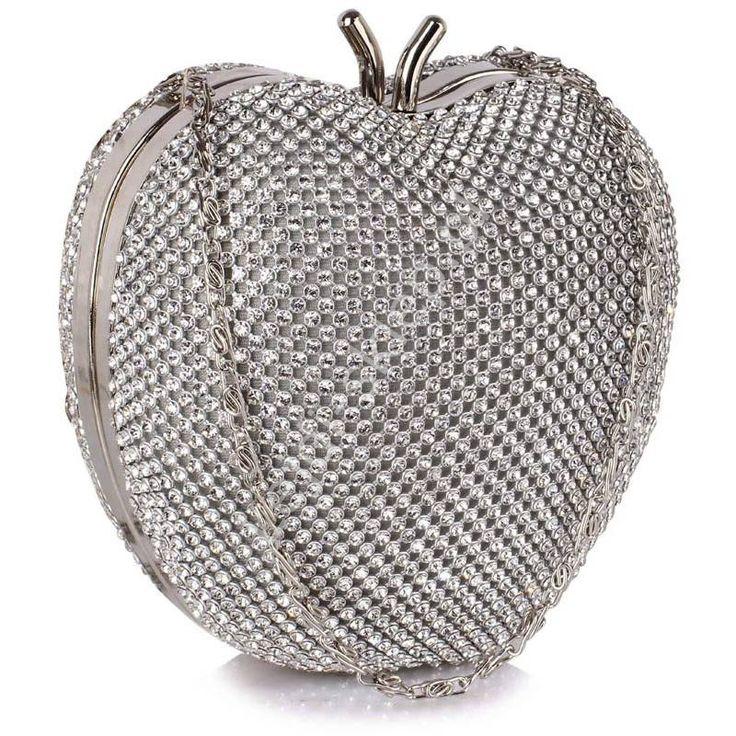 Silver apple made from crystals. Silver evening clutch bag. Kryształkowe jabłuszko - unikatowa kryształkowa torebka, srebrna