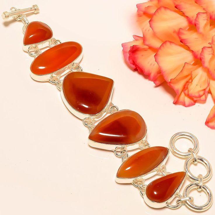 """Carnelian 925 Sterling Silver Jewelry Bracelet 7-8"""" #Handmade #Statement"""