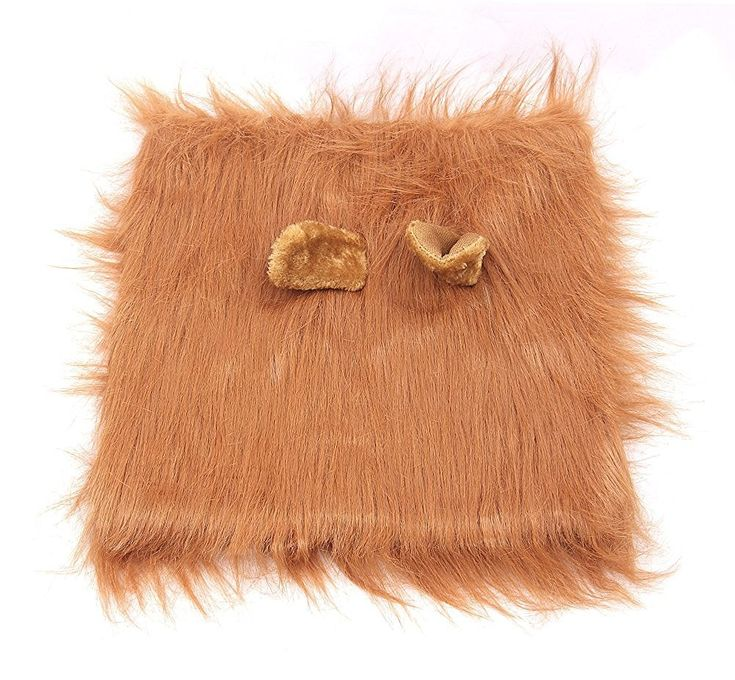 Lion Mane for Dog,Neckerchief, Pet Festival Halloween Party Fancy Lion Hair Dog Clothes Dress with Ears(Neck perimeter 35.1in, Adjustable,Light Brown )
