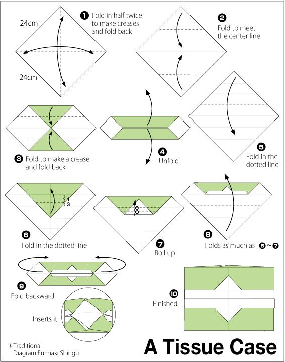 Origami Tissue case--From a very excellent site by Fumiaki Shigu.  He has many animals, vegetables, clothing, birds, and various items, w/ video instruction and diagrams.