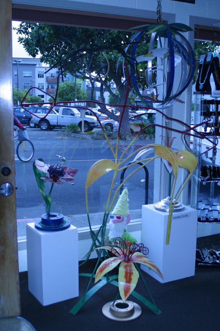 sculpture display, flowers with dancer