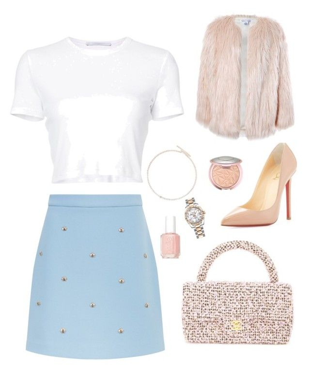 """""""Untitled #15"""" by sofiabaaima ❤ liked on Polyvore featuring Maje, Rosetta Getty, Christian Louboutin, Saskia Diez, Rolex, Chanel, Essie and Sans Souci"""