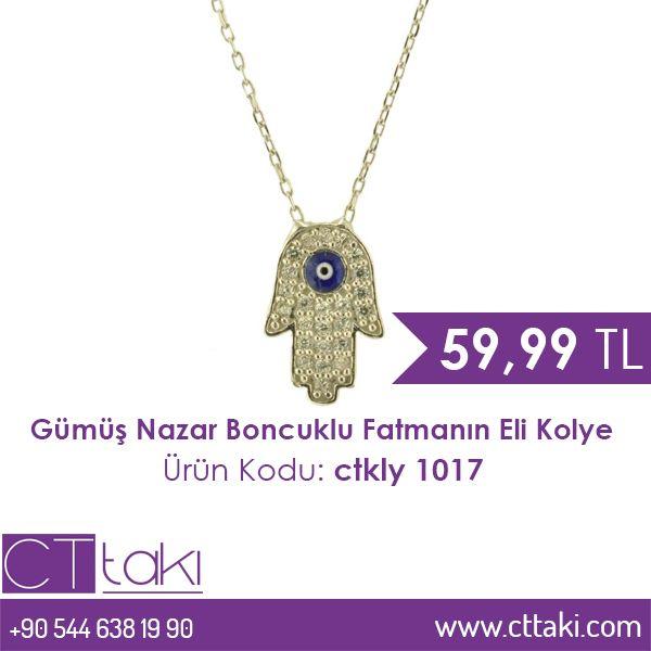 Gümüş Nazar Boncuklu Fatmanın Eli Kolye. 59,99 TL fiyatı ile CT Takı'da. #gümüş #nazar #boncuk #fatma #el #kolye #fiyat #indirim #ucuz #takı #tasarım #takıtasarım #aksesuar #şık #moda #trend #trends #kadın #women #cttakı