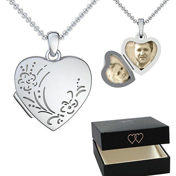 Silber Medallion Herz Anhänger Kette Amulett z öffnen Hals Schmuck Medaillon NEU