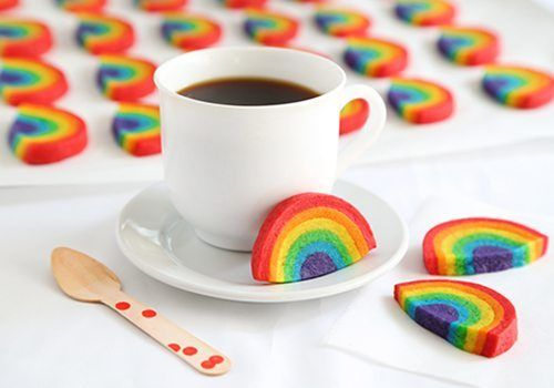 Rainbow cookies from Sprinkle Bakes.  Use the same recipe from rainbow swirl cookies with the food processor or sugar cookie recipe.  Easy and cute!   Yields 6 dozen cookies. Can be frozen when assembled before baking.