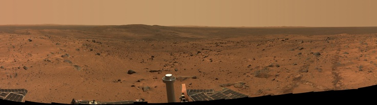 """View toward other hills (McCool and Ramon) of the Columbia Hills range, from the summit of """"Husband Hill,"""" taken by the Mars Spirit Rover on Martian mission days Sol 583 through 585 (Aug 24-26, 2005 on Earth)."""