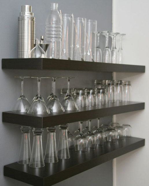 idea for a dedicated bar area ... hang shelves above and display glassware