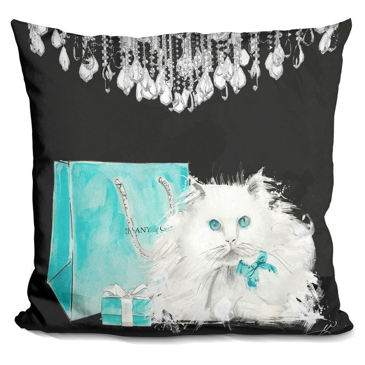 Lilipi White Persian Cat With Presents Decorative Accent Throw Pillow, Multi (Velvet)
