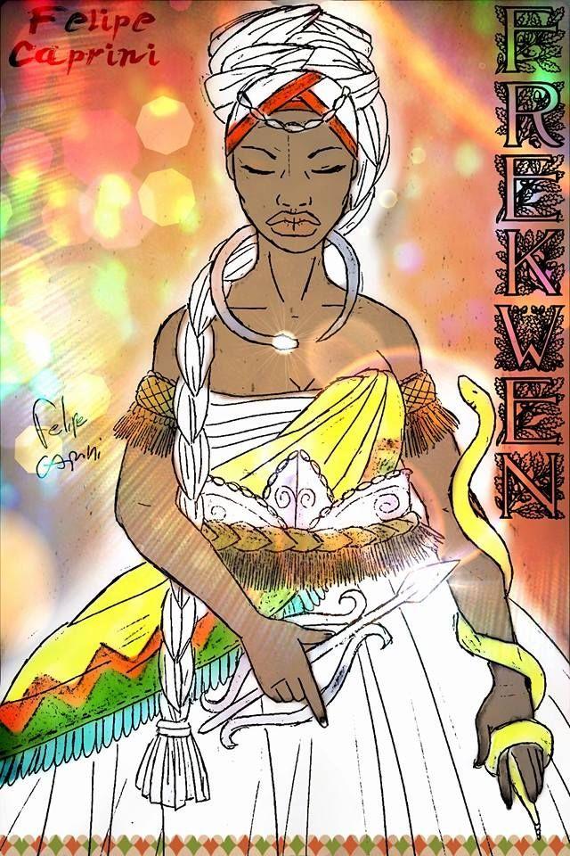 Candomblé Jeje:Vodun Frekwen (Senhora da Luz) /  Alguns dizem que é irmã gêmea de Yewa, ou que seria companheira de Bessen.  Frekwen é da família das Serpentes. É a cobra albina, o arco-íris circular em torno do Sol e reflexo colorido dos prismas.