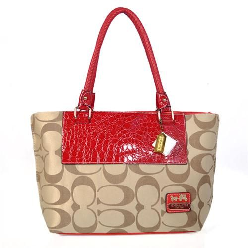 KnowInTheBox - High Quality Coach Madison Collection Red Khaki Totes From China