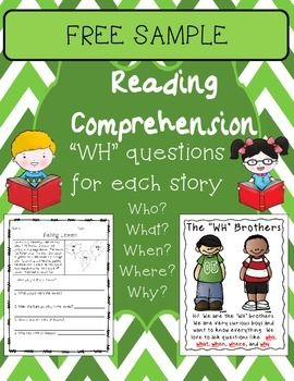 "FREE SAMPLE of my Reading Comprehension and ""WH"" Questions packet of 48 Monthly-themed stories, each with 5 basic comprehension questions.  The questions are the basic:  ""who, what, when, where, why"" questions.  NO PREP NEEDED!  Just print and go!You can purchase each month separately (links are down below) or you can save some money by buying the bundle."