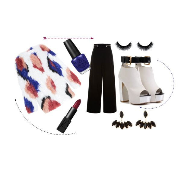 Red - Blue - Cream - Black  - White by tamaraispeople on Polyvore featuring Elizabeth and James, Proenza Schouler, NARS Cosmetics and OPI