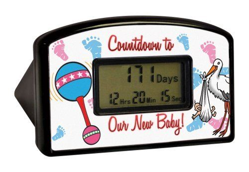 "Big Mouth Toys Countdown Timer - New Baby (Blister) by Big Mouth Toys. $9.98. The clock is 4"" wide by 2.5"" high. Once the clock reaches the milestone, it can be reset to start counting again. Count down the hours, minutes and seconds with this desktop countdown clock. From the Manufacturer                Are you expecting a bundle of joy? Count down the hours, minutes and seconds with this desktop countdown clock. The clock is 4"" wide by 2.5"" high. Once the clock reac..."