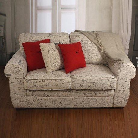 French Script Linen Two Seat Sofa