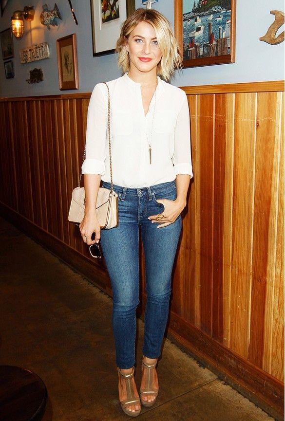 Julianne Hough in Paper Denim & Cloth jeans; Chloe bag; Stella & Dot Rebel necklace