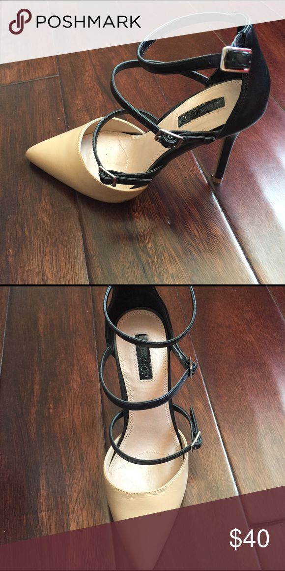 Topshop two toned heels Black and Tan topshop two toned strappy heels. Worn once. excellent condition! Topshop Shoes Heels
