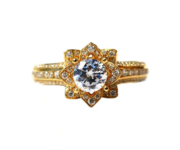 UNIQUE Flower Rose Diamond Engagement or Right Hand Ring - 2.25 carat - 14K yellow gold - 14k White gold - 14K rose gold- wedding - brides. $5,500.00, via Etsy. http://www.bloomingbeautyring.com