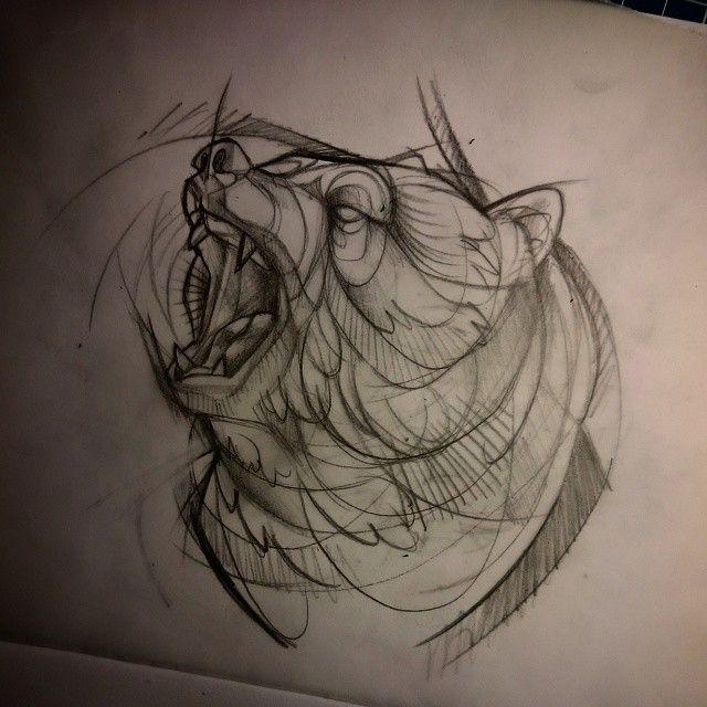 Line Art Grizzly Bear tattoo