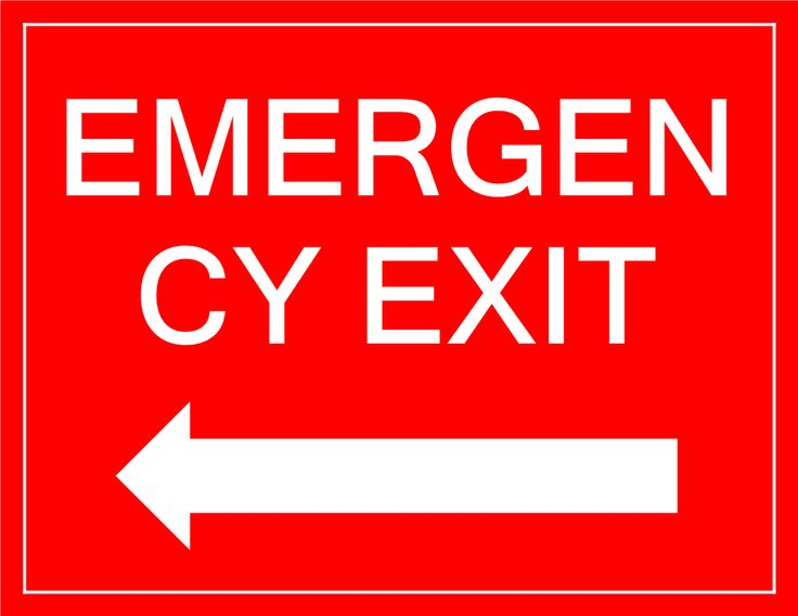 Emergency Exit sign with arrow - Download this Emergency Exit sign with arrow if you need to inform people in your building about the Emergency Exit location n case of an emergency.