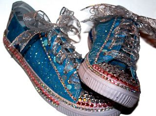Wow Bling Prom Tennis Shoes!   Turquoise Converse Painted and Blinged out for a Prom! shoes are fabulous...over 500 hand set rhinestones!